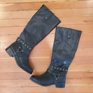 Abound Shoes - Abound moto knee high black riding boots size 8